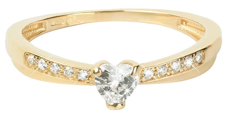 Brilio Zlatý prsten Srdce s krystaly 229 001 00750 55 mm