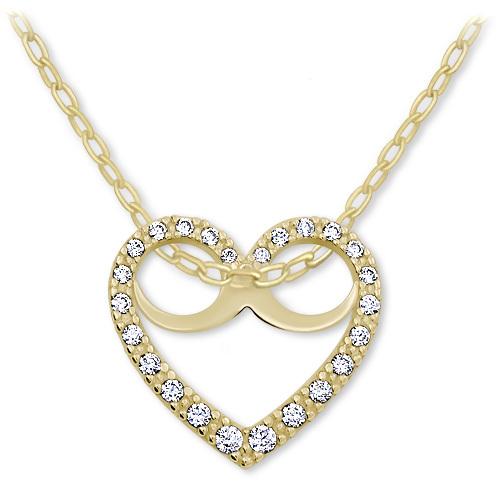 Brilio Romantický náhrdelník Srdce s krystaly 279 001 00089 - 2,60 g (řetízek, přívěsek)