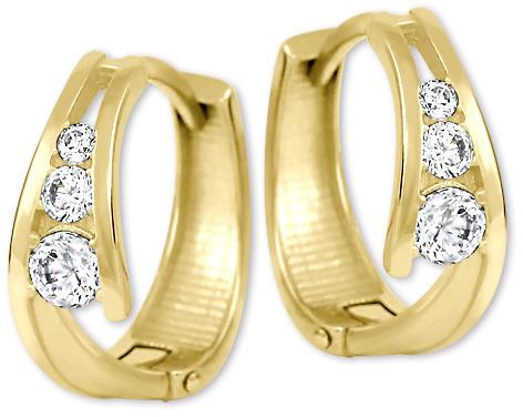 Brilio Zlaté náušnice kroužky s krystaly 239 001 00800 - 1,60 g