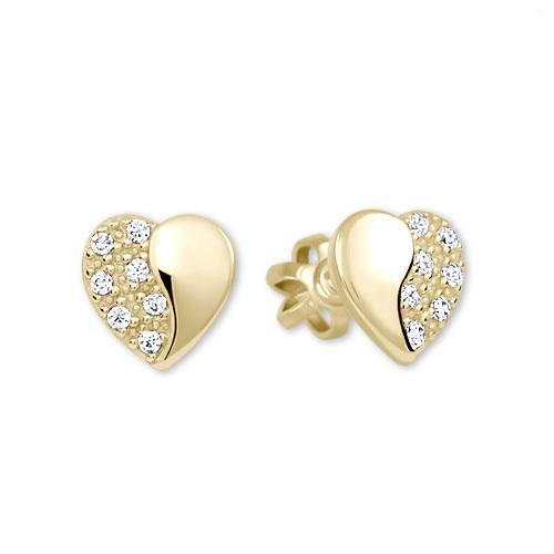 Brilio Zlaté náušnice Srdíčka s krystaly 239 001 00878 - 1 c145d420242