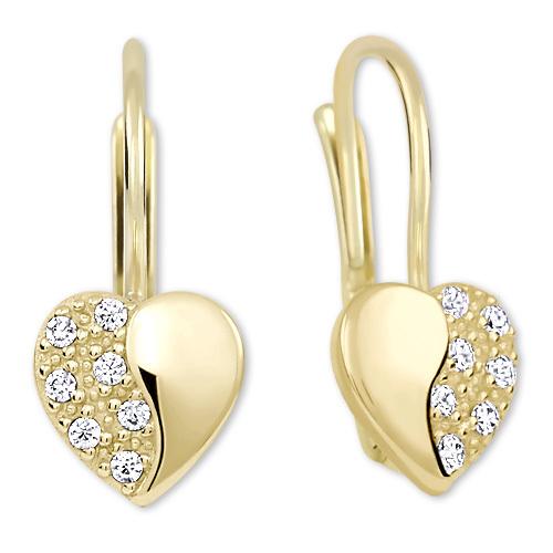 Brilio Zlaté srdíčkové náušnice s krystaly 239 001 00880 - 1,40 g