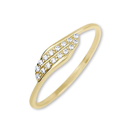 Brilio Zlatý prsten s krystaly 229 001 00663 - 1,00 g 56 mm