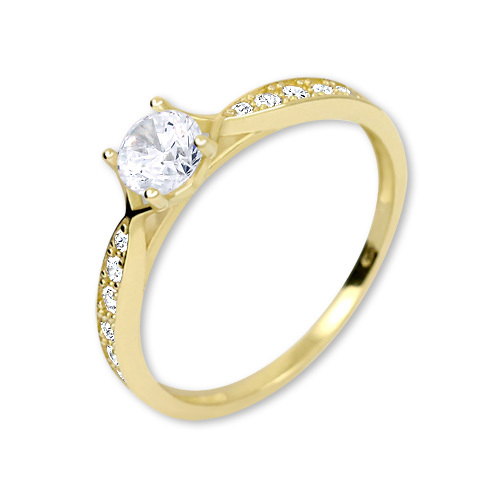 Brilio Zlatý prsten s krystaly 229 001 00753 50 mm