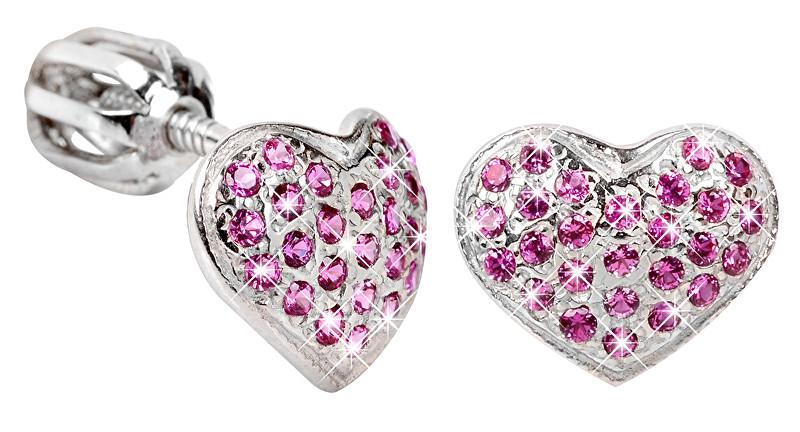 Brilio Silver Stříbrné náušnice Srdce 436 001 00251 04 - fuchsiové - 1,20 g