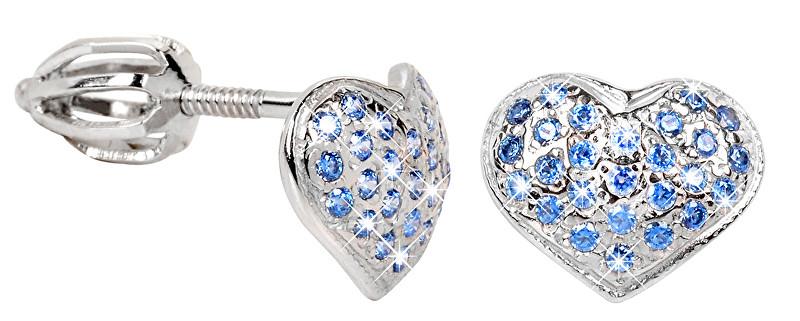 Brilio Silver Stříbrné náušnice Srdce 436 001 00251 04 - modré - 1,20 g