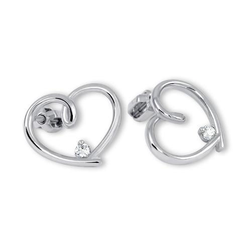 Brilio Silver Stříbrné náušnice srdce s krystalem 436 001 00292 04 - 3,40 g