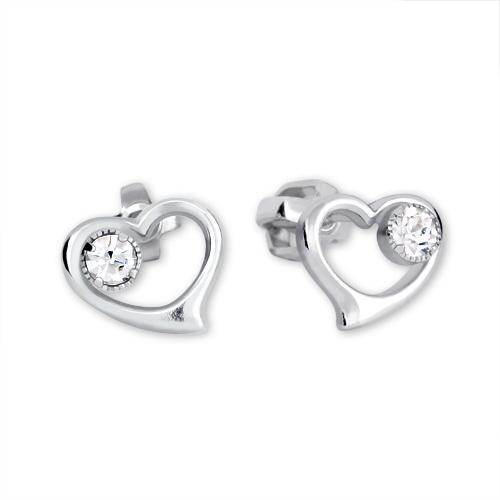 Brilio Silver Stříbrné náušnice Srdce s krystalem 438 001 00931 04 - 1,45 g
