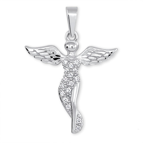 Brilio Silver Stříbrný přívěsek Anděl s krystaly 446 001 00379 04