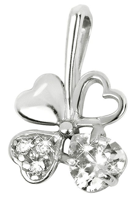 Brilio Silver Stříbrný přívěsek čtyřlístek 446 001 00349 04 - čirý - 0,43 g