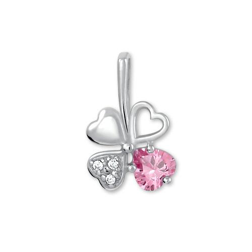 Brilio Silver Stříbrný přívěsek čtyřlístek 446 001 00349 04 - růžový - 0,43 g