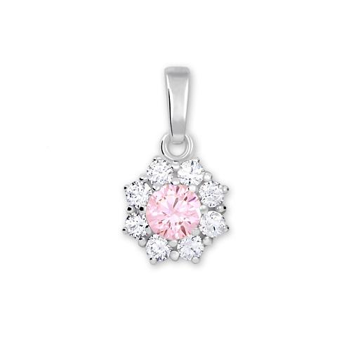 Brilio Silver Stříbrný přívěsek s krystalem 446 001 00314 04 - růžový - 0,71 g