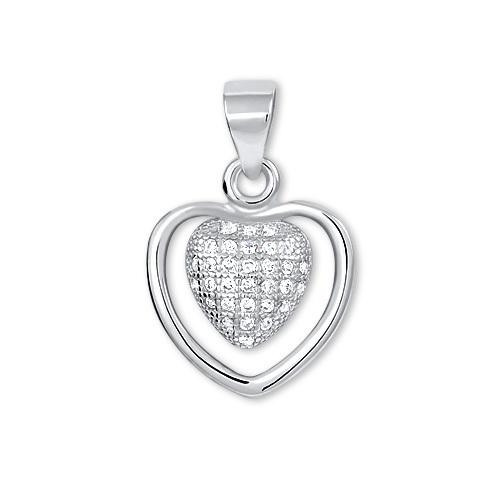Brilio Silver Stříbrný přívěsek Srdce s krystaly 446 158 00062 - 1,12 g