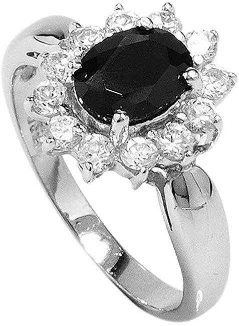 Brilio Silver Stříbrný prsten s černým krystalem 5121615B 52 mm