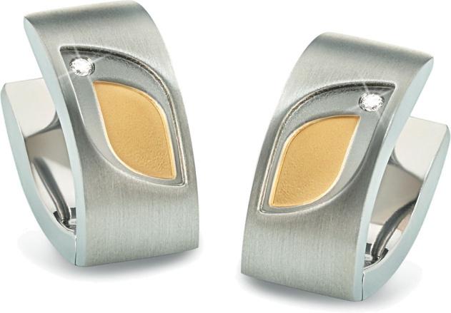 Boccia Titanium Bicolor titanové náušnice s brilianty 05009-03