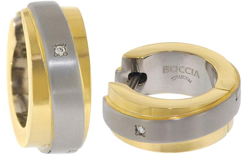 Boccia Titanium Pozlacené titanové náušnice s brilianty 0560-07