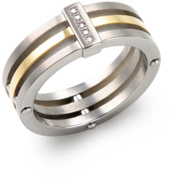 Boccia Titanium Pozlacený titanový prsten s diamanty 0126-02 52 mm