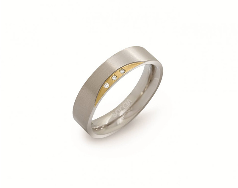 Boccia Titanium Pozlacený titanový prsten s diamanty 0138-04 48 mm