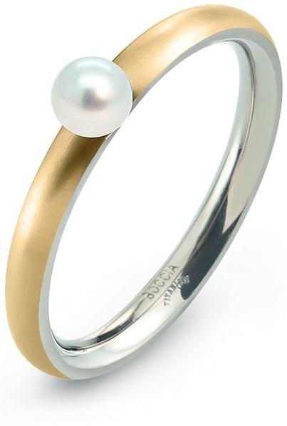 Boccia Titanium Pozlacený titanový prsten s perličkou 0145-02 56 mm
