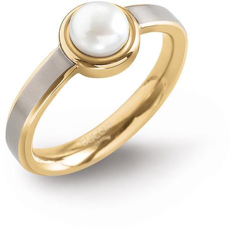 Boccia Titanium Pozlacený titanový prsten s perlou 0137-03 52 mm