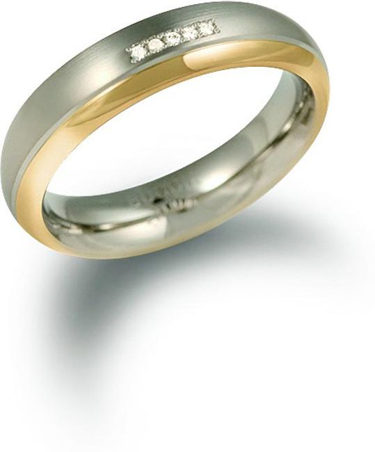 Boccia Titanium Pozlacený titanový snubní prsten s diamanty 0130-10 56 mm