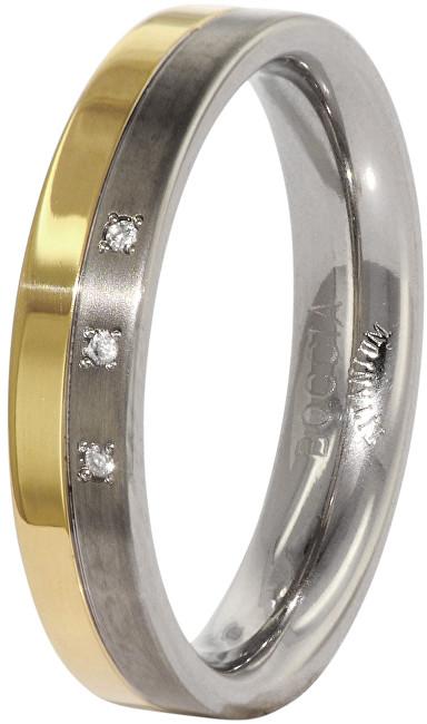 Boccia Titanium Snubný titánový prsteň s diamantmi 0129-04 48 mm