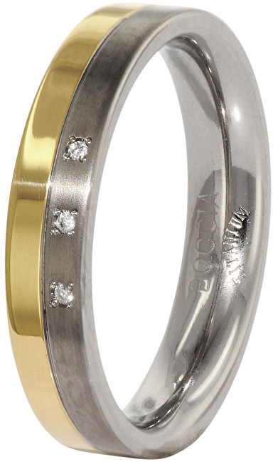 Boccia Titanium Snubní titanový prsten s diamanty 0129-04 48 mm