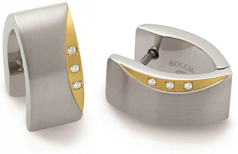 Boccia Titanium Titánové náušnice s pravými diamantmi 05002-04