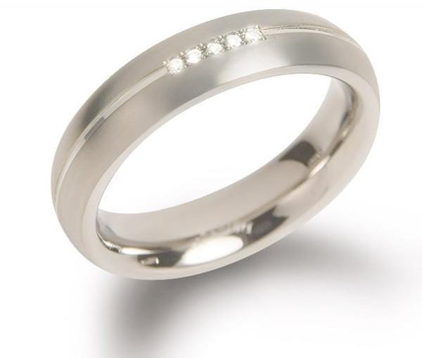 Boccia Titanium Titanový snubní prsten s diamanty 0130-03 51 mm