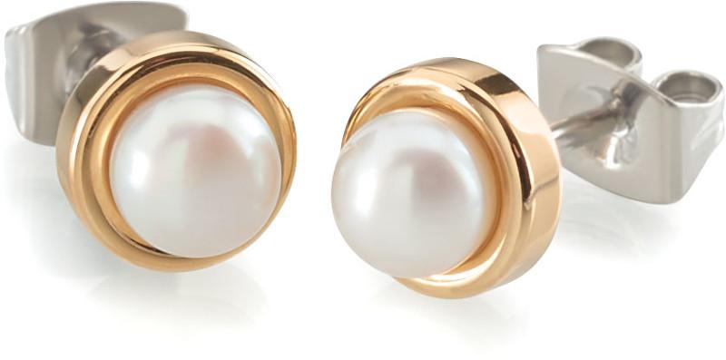 Boccia Titanium Pozlacené titanové náušnice s perlou 0594-02