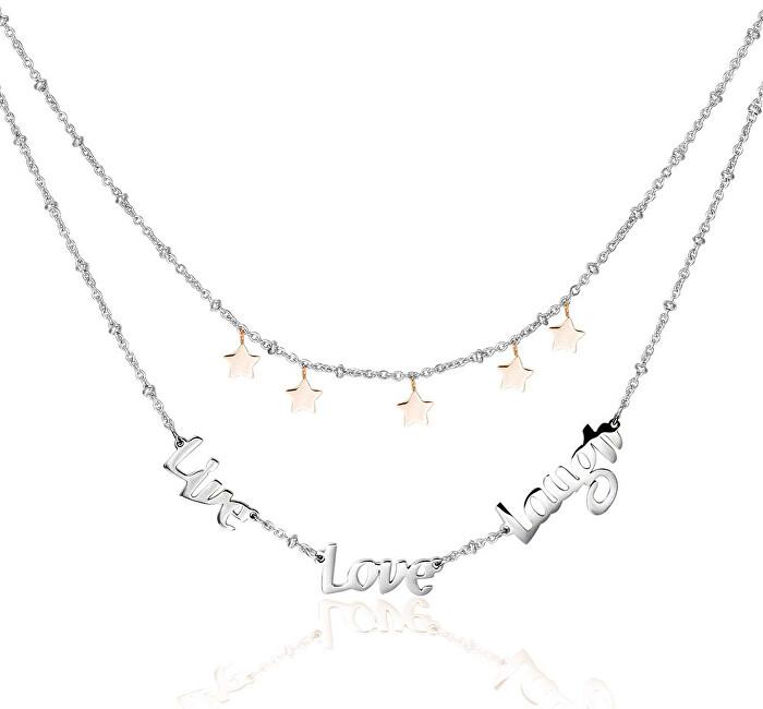 Brosway Oceľový náhrdelník Live Love Laugh Script BRP01