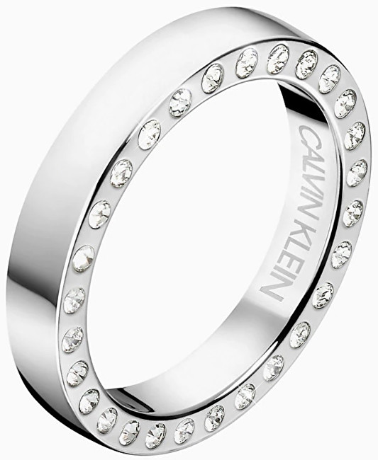 Calvin Klein Luxusné oceľový prsteň s kryštálmi Hook KJ06MR0403
