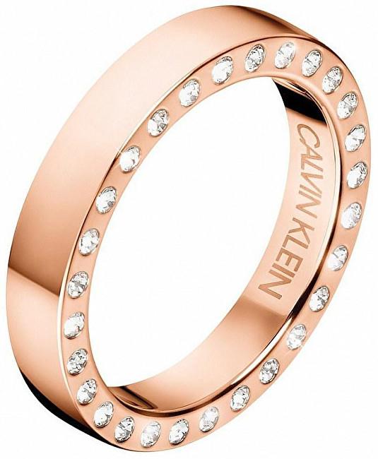Calvin Klein Luxusné oceľový prsteň s kryštálmi Hook KJ06PR1402