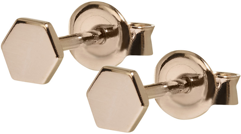 Cluse Hexagonové růžově pozlacené náušnice ze stříbra CLJ50006