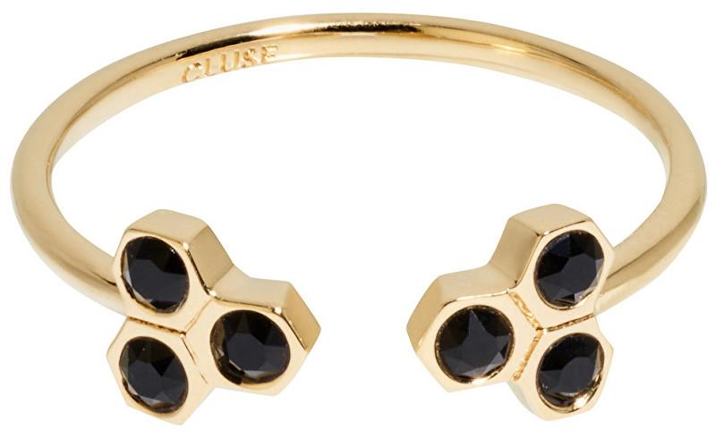 Cluse Pozlacený prsten s černými krystaly CLJ41008 54 mm