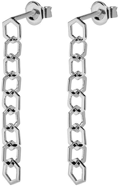 Cluse Stříbrné visací náušnice složené z hexagonů CLJ52009