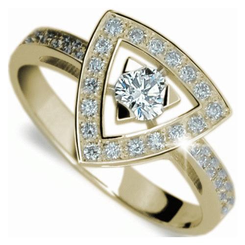 Danfil Luxusní zlatý prsten s diamanty DF1970z 53 mm