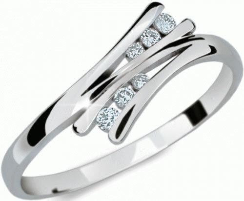 Danfil Krásný prsten s diamanty DF1950b 49 mm