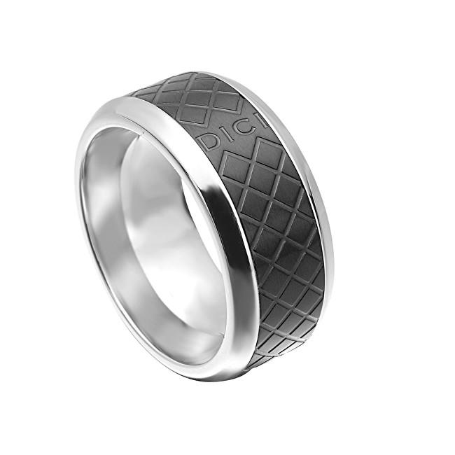 Dici Milano Pánský prsten s černým vzorem DCRG5015020 62 mm