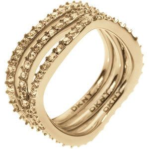 DKNY Trojitý zlatý prsten s krystaly NJ1920040 49 mm