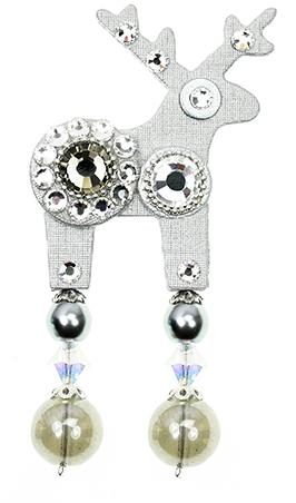 Deers Brosă mini Cerb alb Samuela - Swarovski® Elements