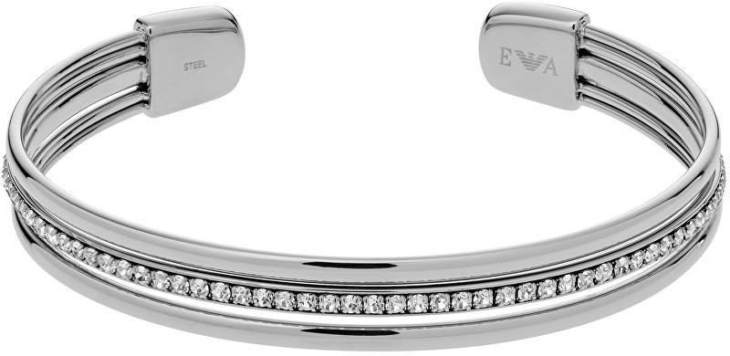 Emporio Armani Pevný ocelový náramek s krystaly EGS2193040