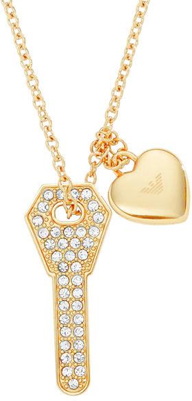 Emporio Armani Pozlacený náhrdelník s klíčkem EGS2201710