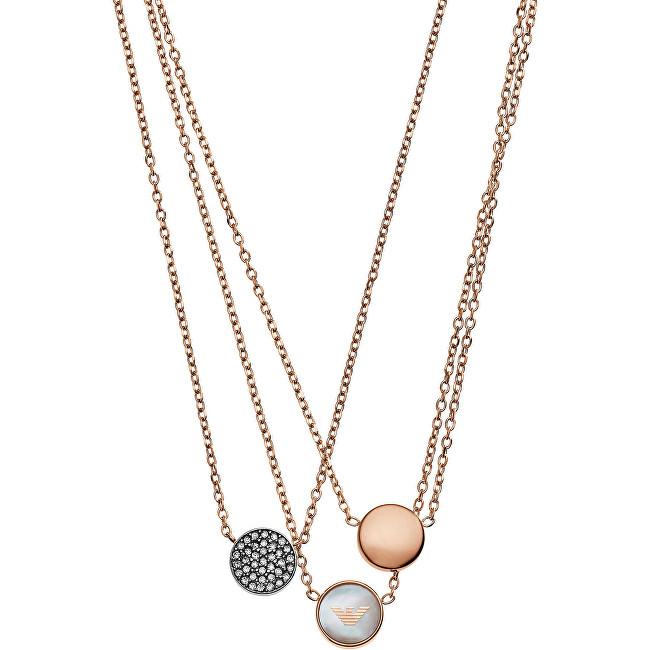 Emporio Armani Trojitý bronzový náhrdelník EGS2309221
