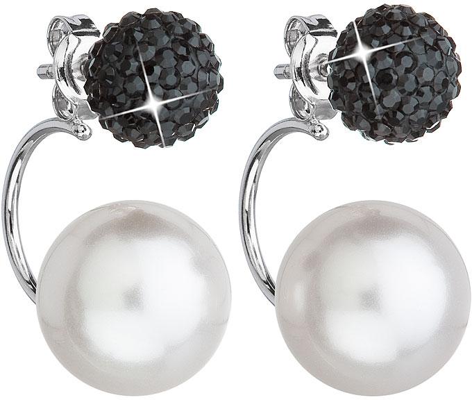 Evolution Group stříbrné náušnice dvojité s krystaly Swarovski černé kulaté 31179.3