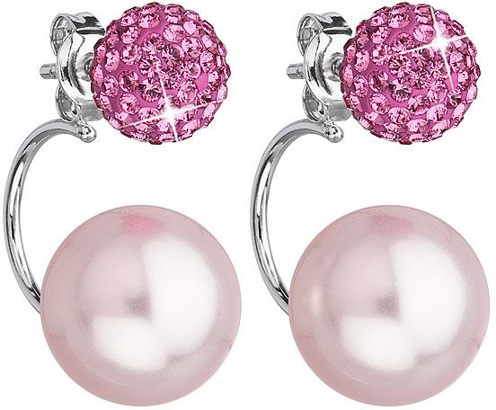 Evolution Group stříbrné náušnice dvojité s krystaly Swarovski růžové kulaté 31179.3