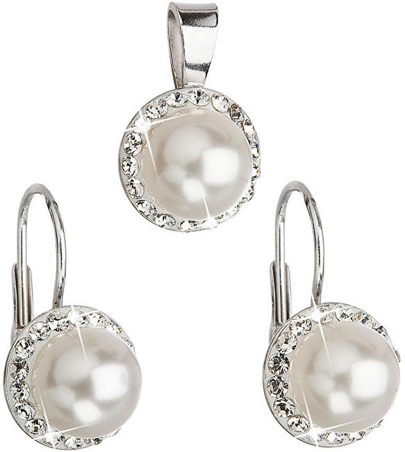 Evolution Group Sada s perlami a kryštály Swarovski 39091.1 biela (náušnice, prívesok)
