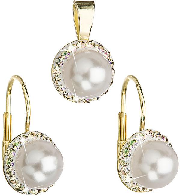 Evolution Group Sada s perlami a krystaly Swarovski 39091.6 luminous green (náušnice, přívěsek)