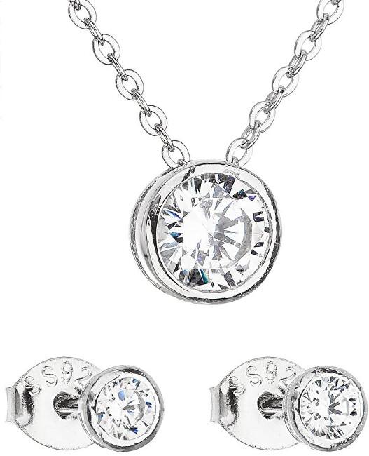 Evolution Group Sada šperkov so zirkónom náušnice a náhrdelník 19007.1