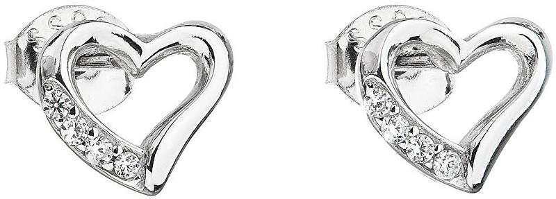 Evolution Group Stříbrné náušnice se zirkonem bílé srdce 11071.1