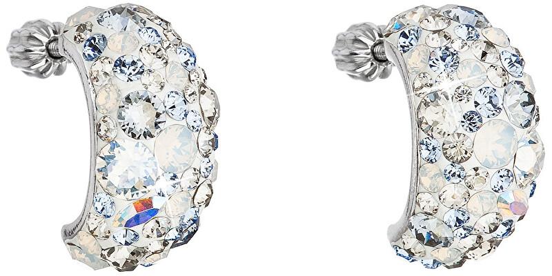 Evolution Group Stříbrné půlkruhové náušnice s krystaly 31164.3 Light Sapphire